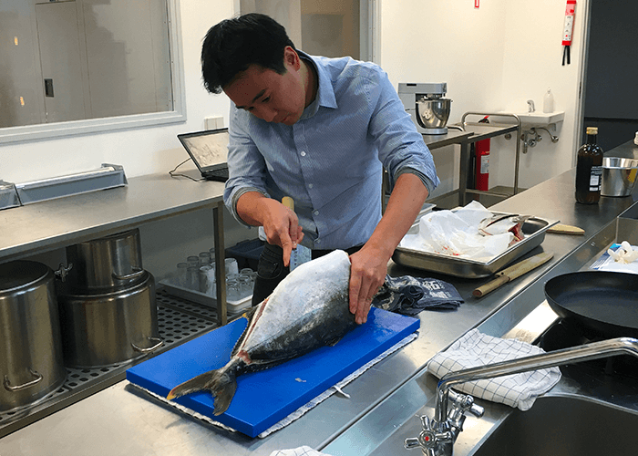 First harvest size Yellowtail at Sashimi Royal