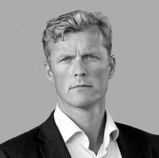 Black and white portrait image of Bernt Olav Røttingnes CEO, Nordic Aquafarms