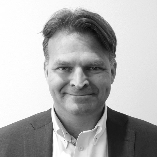 Black and white portrait image of Erik Heim President NAF INC, Nordic Aquafarms