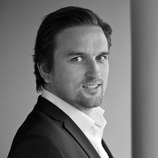 Black and white portrait image of Lars Henrik Haaland CFO, Nordic Aquafarms
