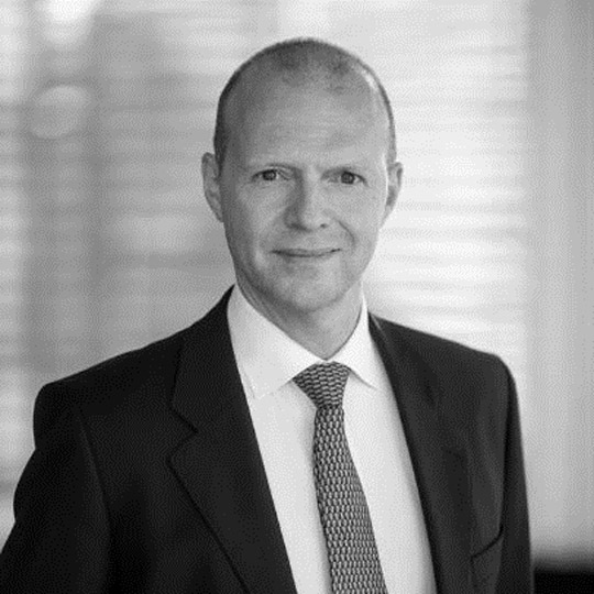 Black and white portrait image of Stig Even Jakobsen Board Member, Nordic Aquafarms